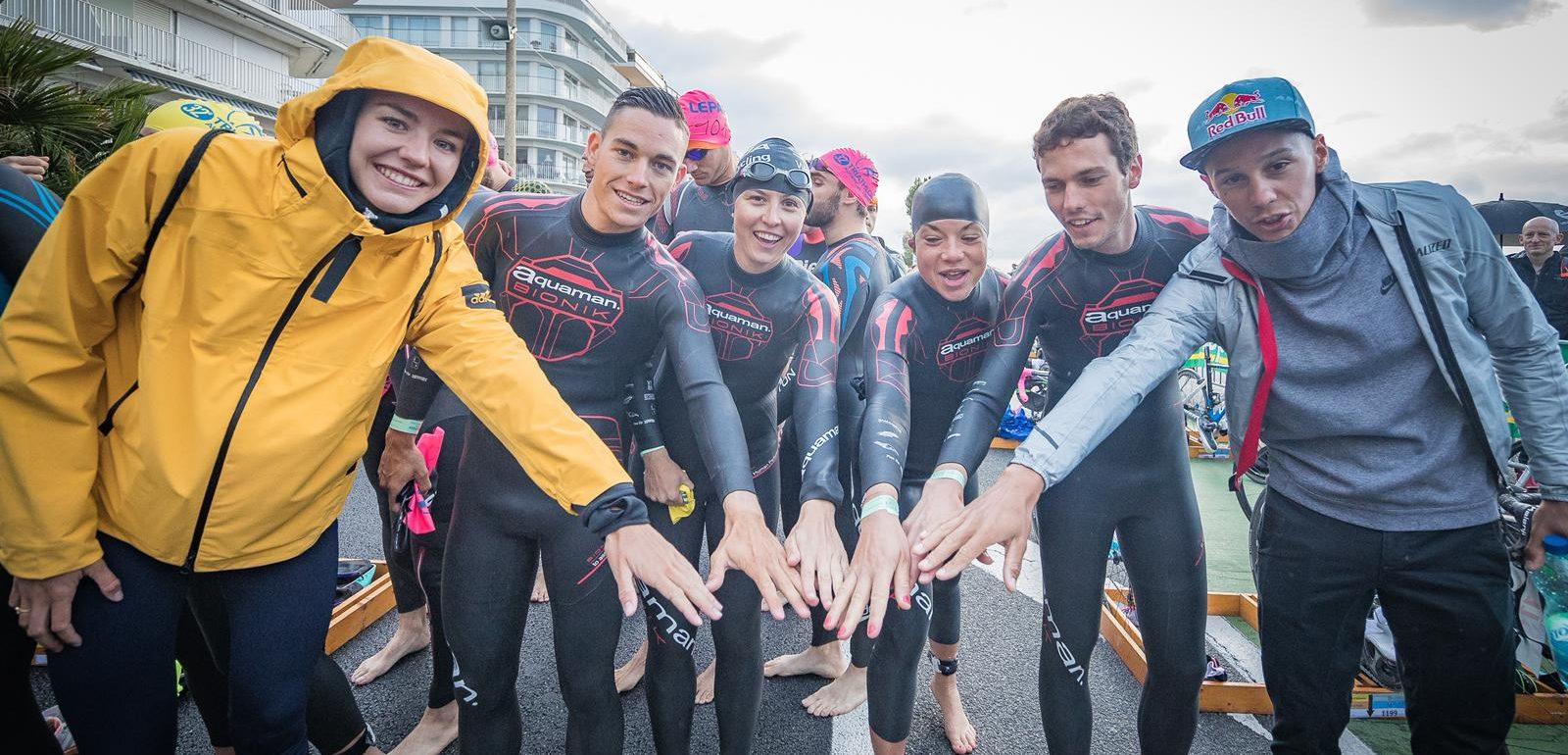 4 amateurs participent AU TRIATHLON DE LA BAULE avec la Team SKODA AVEC VINCENT LUIS ET CASSANDRE BEAUGRAND