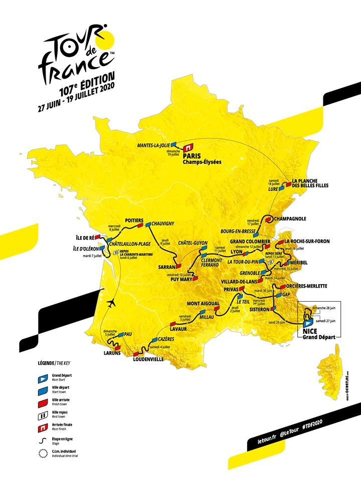 La carte du parcours du Tour de France 2020