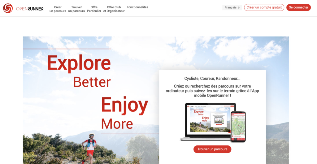 Page accueil OpenRunner